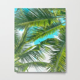Life Under Palm Trees, Colorful Bohemian Beachy, Tropical Travel Nature Graphic Design Metal Print