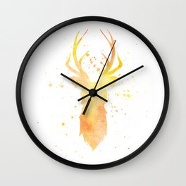 Watercolor deer head with antlers, Yellow Wall Clock