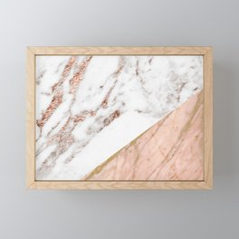 Marble rose gold blended Framed Mini Art Print