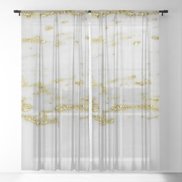 Gold Sparkle and Marble Abstract Sheer Curtain