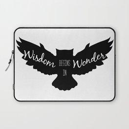 Wisdom Begins in Wonder - Black and White Owl Vers. Laptop Sleeve