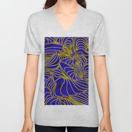 Curves in Yellow & Royal Blue Unisex V-Neck