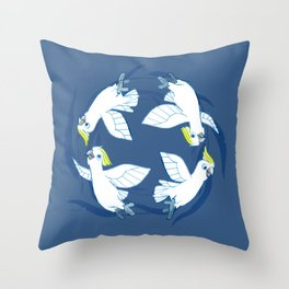 Cockatoo Angels (Blue) Throw Pillow