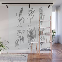 Grains and Cereal Plants Study Design Wall Mural