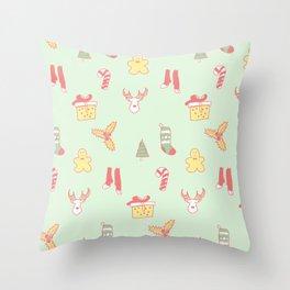 Pastel Bright Christmas Throw Pillow