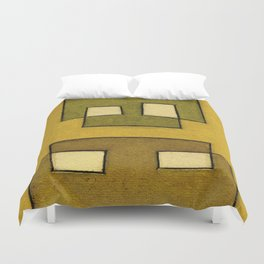 Protoglifo 02 'ochre closer to green' Duvet Cover