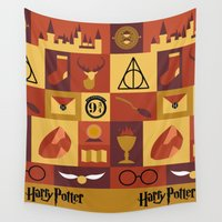 harry potter Wall Tapestries featuring Potter by Polvo
