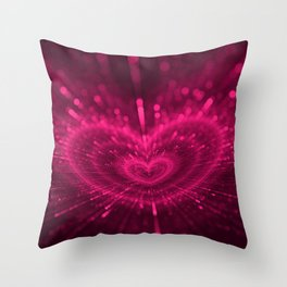 Purple Love Heart, Happy Valentine's Day Pattern Throw Pillow