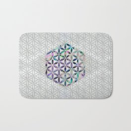 Flower of life Abalone shell on pearl Bath Mat