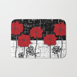 Applique Poppies on black and white background . Bath Mat