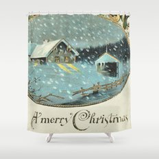 Snowy house in the woods vintage Shower Curtain