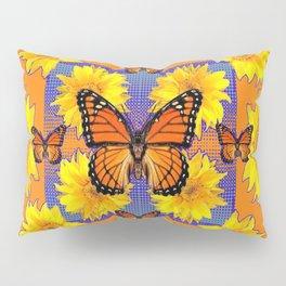 ORNATE YELLOW MONARCH BUTTERFLIES & YELLOW SUNFLOWERS Pillow Sham