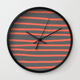 Simply Drawn Stripes Deep Coral on Storm Gray Wall Clock