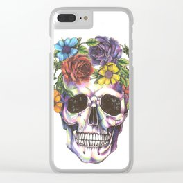 skull flowers Clear iPhone Case