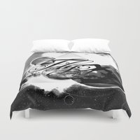 decal Duvet Covers featuring fly away bw by haroulita