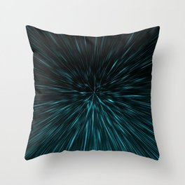 Blue and black Hypergalaxy Throw Pillow