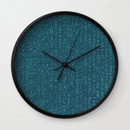 Hieroglyphics Moonstone BLUE / Ancient Egyptian hieroglyphics pattern Wall Clock