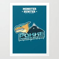 monster hunter Art Prints featuring Monster Hunter All Stars - Pokke Permafrosts  by Bleached ink