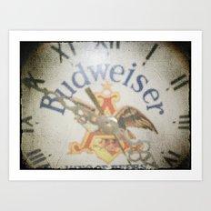 Retro Beer Clock Art Print