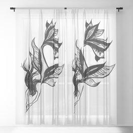 Beautiful mermaid black and white ink drawing Sheer Curtain