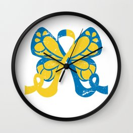 Down Syndrome Awareness Butterfly Wall Clock