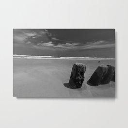Calm beach on Assateague Island (black and white) Metal Print