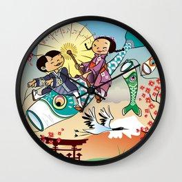 Japan flying fish Wall Clock