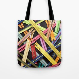 Zippers for clothes on black Tote Bag