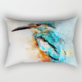 Watercolor kingfisher bird Rectangular Pillow