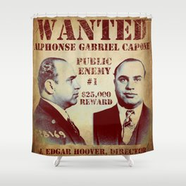 Al Capone FBI Wanted Poster Shower Curtain