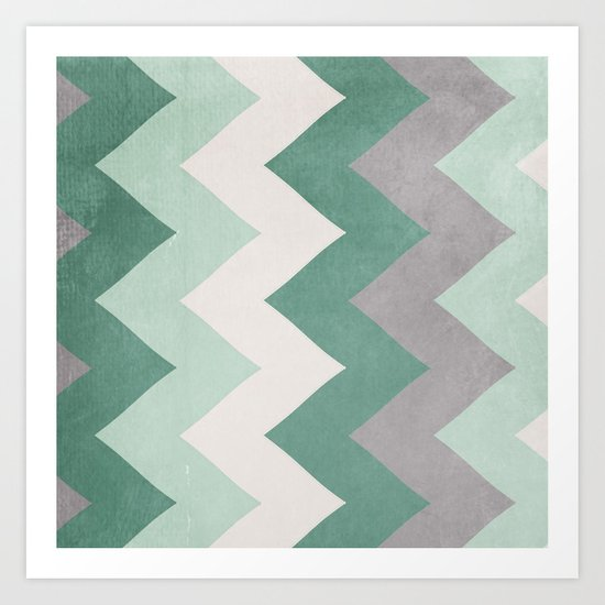 Wintergreen - Chevron Art Print