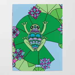 Frog and Lily Pads Poster