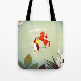 Horse riding, golf and tennis in 1920s Merano Tote Bag