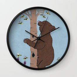 Bees And The Bear Wall Clock