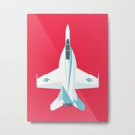 F-18 Super Hornet Jet Aircraft - Crimson Metal Print