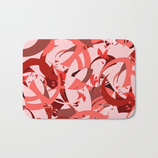 Abstract Curls - Burgundy, Coral, Pink Bath Mat