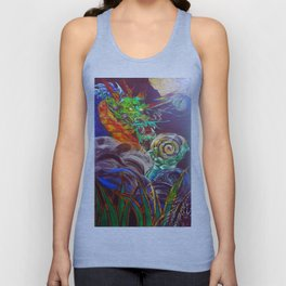 """The Aged and Wise Old Dragon Conquers some Orbs."" Unisex Tank Top"