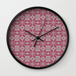 Knitted winter, red - white pattern Wall Clock