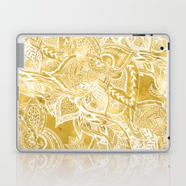 Modern lemon curry watercolor floral hand drawn pattern Laptop & iPad Skin