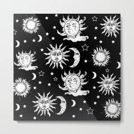 Sun and Moon Celestial Pattern Metal Print