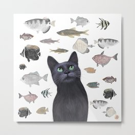 The Black Cat Waiting for a Fish to Come By Metal Print