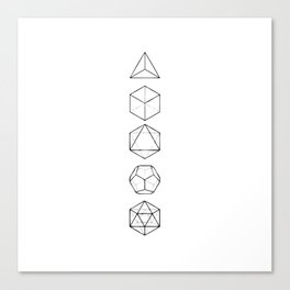 Platonic Solids Geometric Print Canvas Print