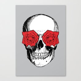 Skull and Roses | Grey and Red Canvas Print