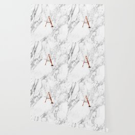 Monogram rose gold marble A Wallpaper