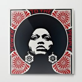 Angela Davis - Power & Equality - Power to the People - Red - African American Vintage Poster Metal Print