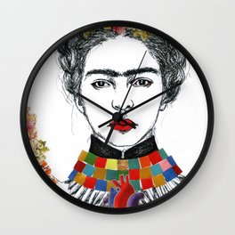 Frida Kahlo Heart Wall Clock