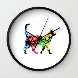 Rainbow snowflake cat Wall Clock
