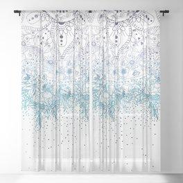 Elegant floral mandala and confetti image Sheer Curtain
