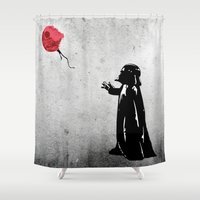 banksy Shower Curtains featuring Little Vader - Inspired by Banksy by kamonkey