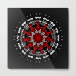 Bright Red Silver Star Flower Mandala Metal Print